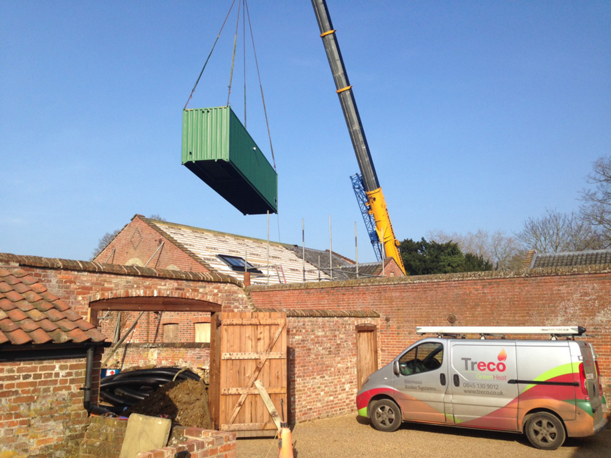 Earsham Hall Norfolk container delivery for biomass boiler system solution