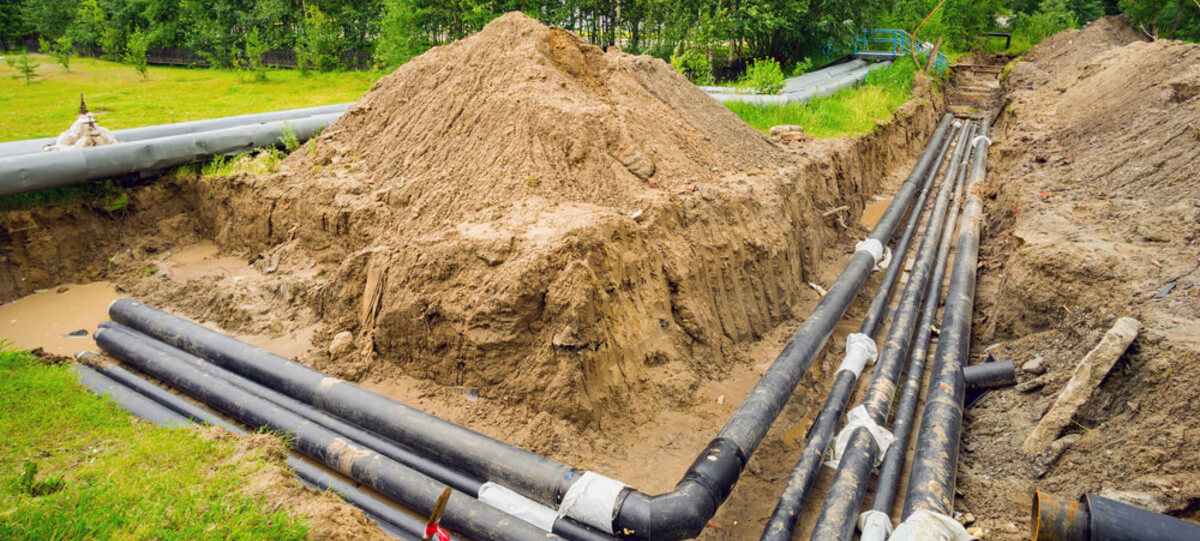 district heating pipes ground work