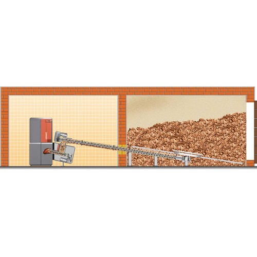 A graphic depicting a wood chip fuel store feeding a biomass boiler